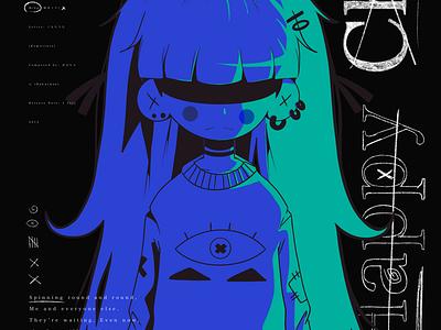 Happy Child design ipad pro texture abstract anime poster illustration