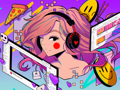 Pokimane for Wired magazine design ipad pro texture abstract anime poster illustration