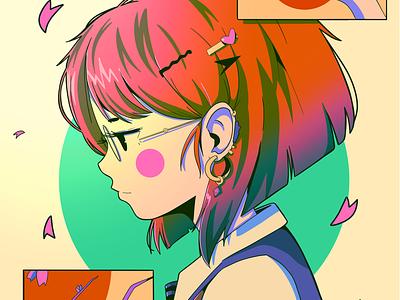 Sakura park ipad pro texture abstract anime poster illustration