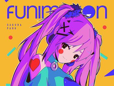 Funimation design ipad pro texture abstract anime poster illustration