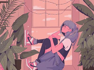 Chill Sunday music texture ipad pro anime illustration