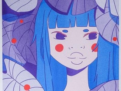 Lotus riso nature texture anime poster risograph
