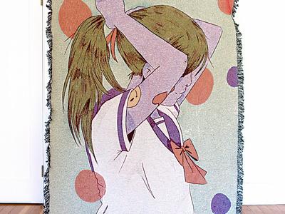 School girl blanket illustration anime balnket