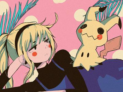 Mimikyu anime poster texture pikachu mimikyu illustration ipadpro procreate pokemon