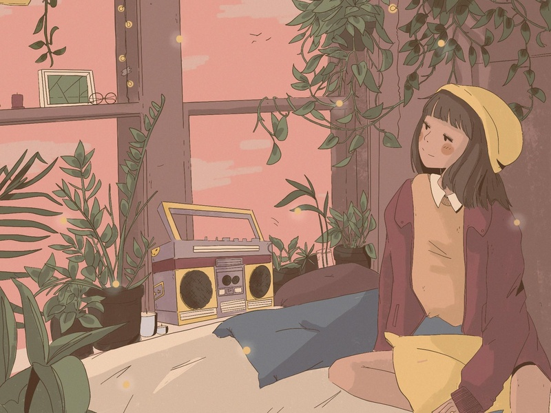 Dreamstate music texture ipad pro poster illustration anime