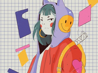 Girl v3 katana japan poster design ipad pro anime illustration
