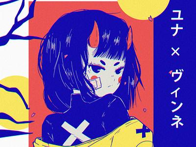 vinnexyuna texture ipad pro poster anime illustration