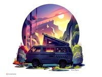 Insta series 04 vector light gradient discovery ontheroad traveling cabin wild nature forest wallpaper photoshop travel freedom instagram post instagram vanlife illustration