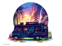 insta series 05 discovery park forest nature feelgood fun freedom traveling travel truck wallpaper light gradient road van vanlife illustration