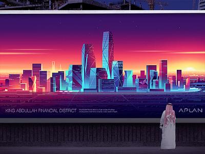 King Abdullah Financial Center_Riyadh sun light futur urban skycrapers saudia financial riyadh illustration