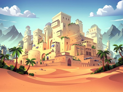 Learning Roots_ game box cover castle citadelle palm trees mountains arabian desert colorful learning roots play game illustration