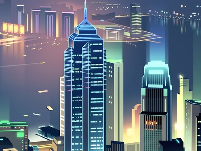 skyline-romain trystram-hk digital art trystram buildings towers windows illustration city hong kong colorful neon night light