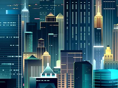 skyline-romain trystram-hk-02 digital art trystram buildings towers windows illustration city hong kong colorful neon night light