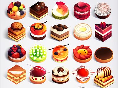Tiny Stores Trystram Desserts color series vegetables desserts collection trystram illustration food poster