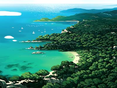 Douce France  sea beach pines lanscape sunny sud france island illustration book