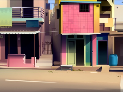 Downtown trystram favela quartier hood town color background