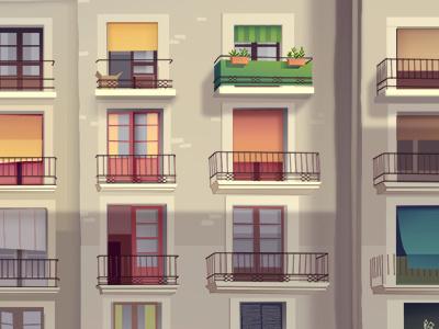 Balconies  sunlight sun windows colors italy background balconies