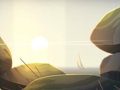Bretagne  trystram rize shine bright sea sun light bretagne illustration