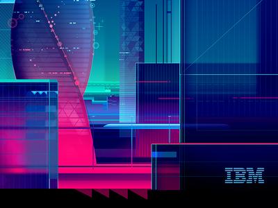 IBM Magazine cover cover magazine ibm technology illustration cognitive city night neon light skyline