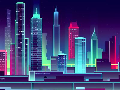Another Skyline  2016 trystram skyscrapers buildings photoshop digital art city neon night skyline