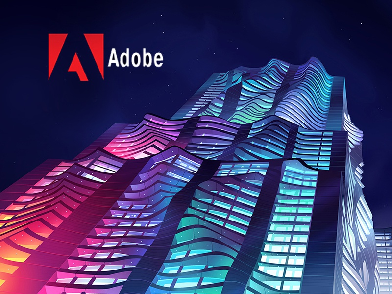 Adobe Document Cloud new york nyc spruce neon building cloud acrobat art direction illustration adobe