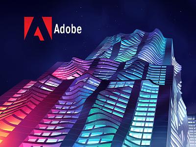 Adobe Document Cloud new york nyc spruce neon building cloud acrobat art direction illustration adobe