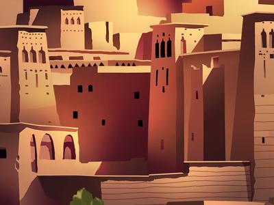 Bled  trystram desert travel shadow ancient city bled earth morocco light illustration