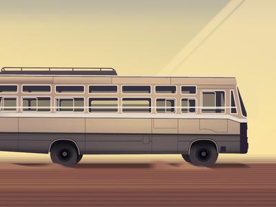 Bus discovering nature trystram futur colorful panorama travel adventure illustration