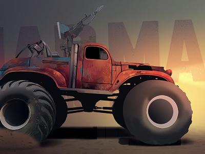 Mad Max Biggy illustration desert race madmax car