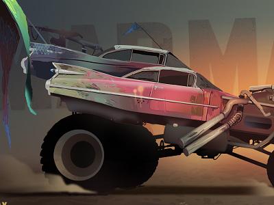Mad Max Cadillac  illustration desert race madmax car