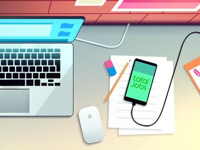 Total Jobs 1 2d digital work desktop desk color uk totaljobs editorial web illustration