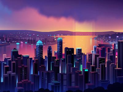 Hk Skyline light color landscape virtual hong kong neon night illustration