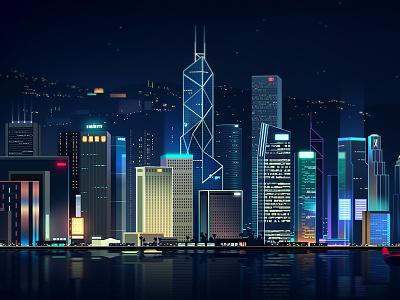 Hk bay light color landscape virtual hong kong neon night illustration