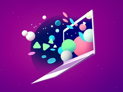 Abstract_01 blue cloud space editorial laptop future technology mac illustraton