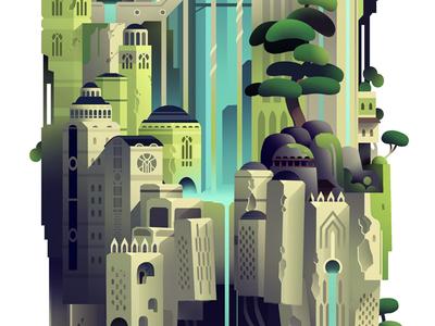 Level 2_crop_04 photoshop digital illustration building fantasy sf color tower play level game adventure