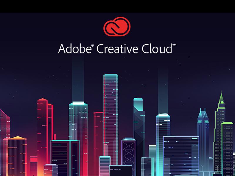 Adobe document cloud 2 trystram light play game skyline night retro color adobe city illustration