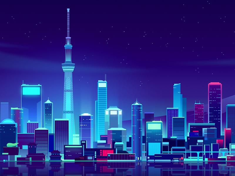 serverlessconf tokyo future retro neon light hacker night trystram affinity process tuto vector illustration
