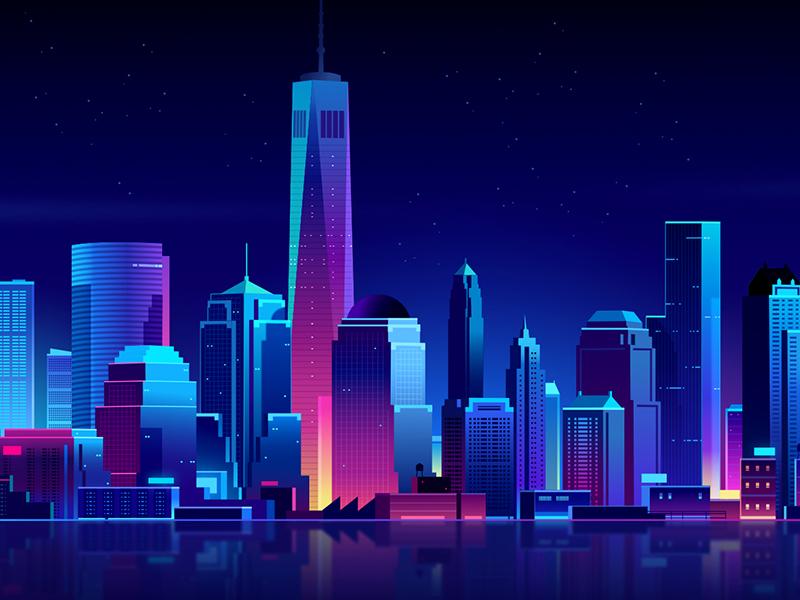 serverlessconf NYC future retro neon light hacker night trystram affinity process tuto vector illustration