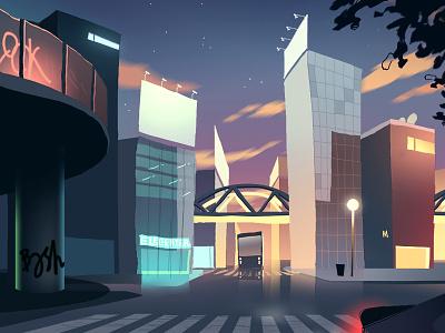 Banlieue gradients buildings street digital neighborhood paris city illustration