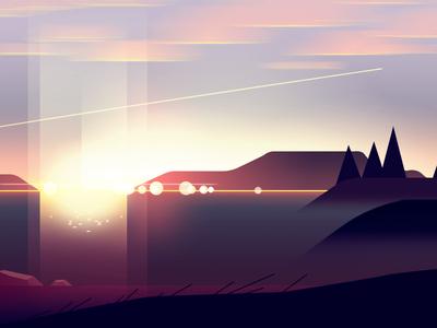 Lake pines color vector landscape sun light gradient illustraton