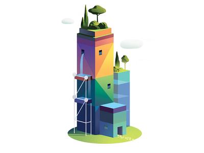 Dans Quel Monde 03 buildings light color trystram city gradient vector futur prospective editorial illustration
