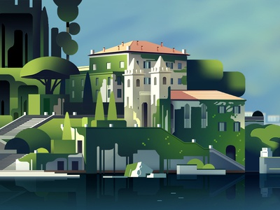 Como hotel color world travel italy gradient lake vector illustration