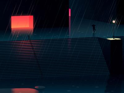 Reflexions Made 3 night city futur cyber punk retro neon 2012 reflexions vector illustration