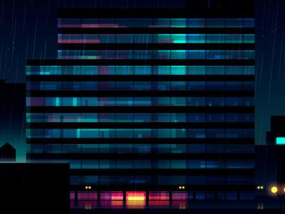 Reflexions Made 4 night city futur cyber punk retro neon 2012 reflexions vector illustration