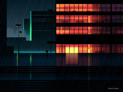 Reflexion Made 6 night city futur cyber punk retro neon 2012 reflexions vector illustration