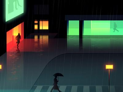 Reflexion Made 7 night city futur cyber punk retro neon 2012 reflexions vector illustration