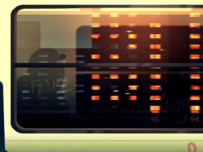 Reflexion Made 12 night city futur cyber punk retro neon 2012 reflexions vector illustration