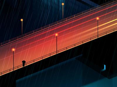 Reflexion Made 14 night city futur cyber punk retro neon 2012 reflexions vector illustration