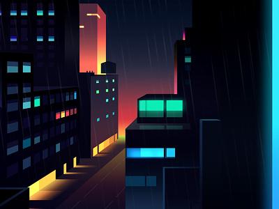 Reflexions Made 24 night city futur cyber punk retro neon 2012 reflexions vector illustration