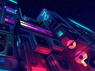 mirage_06 explore city night game video retro futur neon illustration